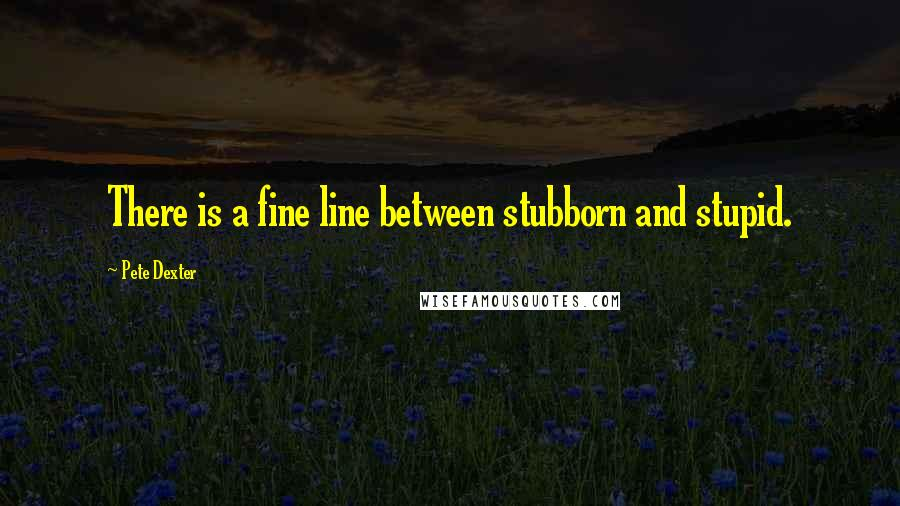 Pete Dexter quotes: There is a fine line between stubborn and stupid.