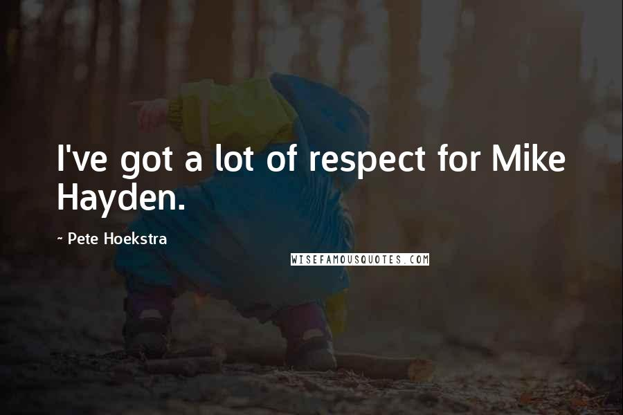 Pete Hoekstra quotes: I've got a lot of respect for Mike Hayden.