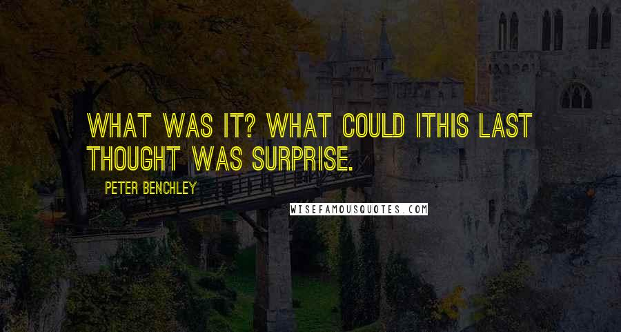 Peter Benchley quotes: What was it? What could itHis last thought was surprise.