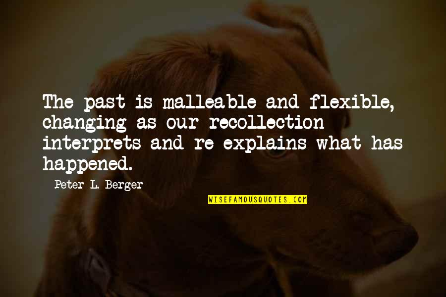 Peter Berger Quotes By Peter L. Berger: The past is malleable and flexible, changing as