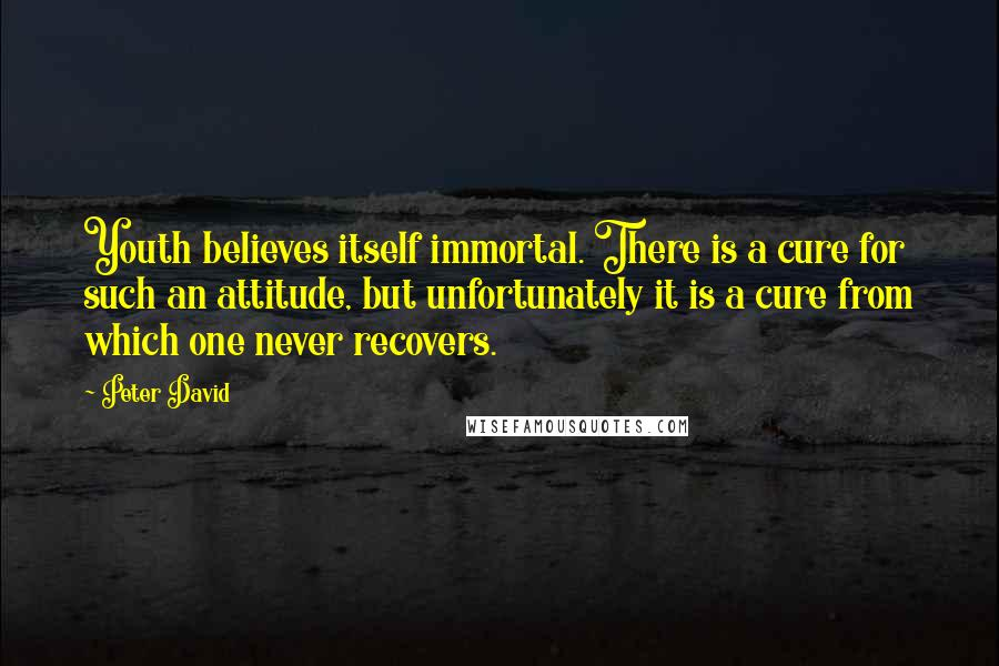 Peter David quotes: Youth believes itself immortal. There is a cure for such an attitude, but unfortunately it is a cure from which one never recovers.