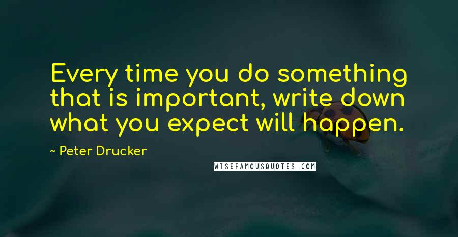 Peter Drucker quotes: Every time you do something that is important, write down what you expect will happen.