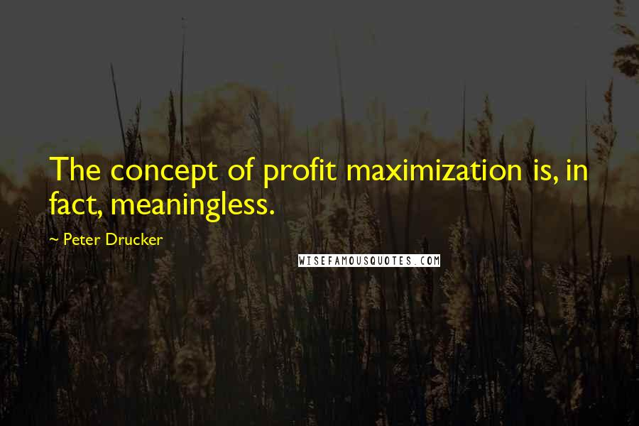 Peter Drucker quotes: The concept of profit maximization is, in fact, meaningless.