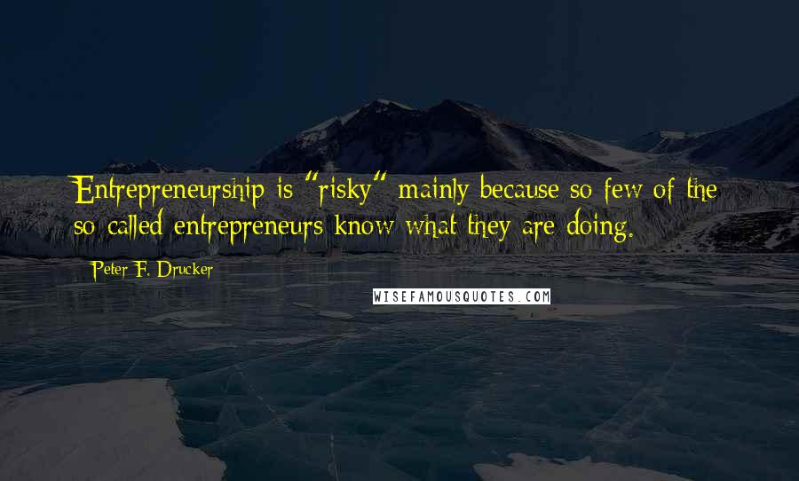 """Peter F. Drucker quotes: Entrepreneurship is """"risky"""" mainly because so few of the so-called entrepreneurs know what they are doing."""