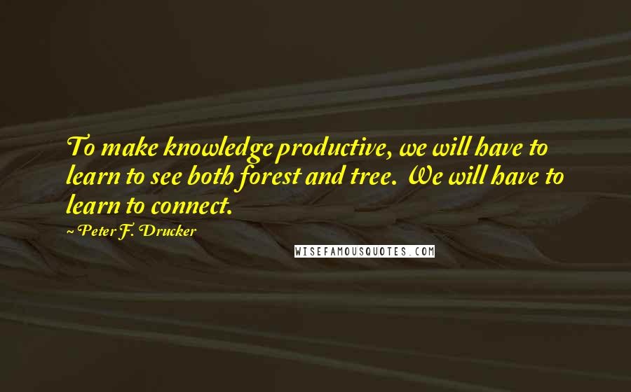 Peter F. Drucker quotes: To make knowledge productive, we will have to learn to see both forest and tree. We will have to learn to connect.