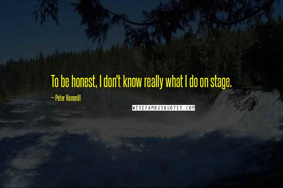Peter Hammill quotes: To be honest, I don't know really what I do on stage.