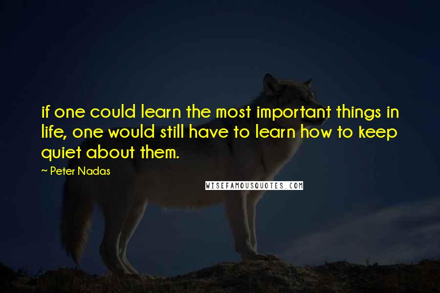 Peter Nadas quotes: if one could learn the most important things in life, one would still have to learn how to keep quiet about them.