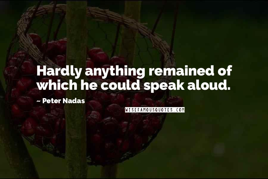 Peter Nadas quotes: Hardly anything remained of which he could speak aloud.