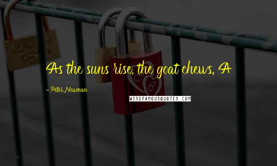 Peter Newman quotes: As the suns rise, the goat chews. A