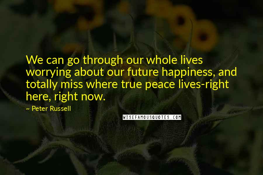 Peter Russell quotes: We can go through our whole lives worrying about our future happiness, and totally miss where true peace lives-right here, right now.