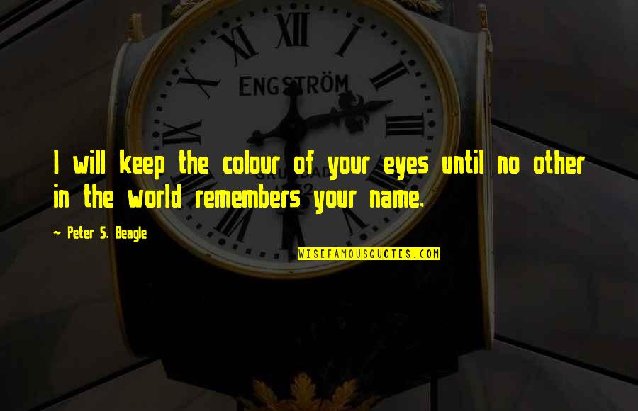 Peter S Beagle Quotes By Peter S. Beagle: I will keep the colour of your eyes