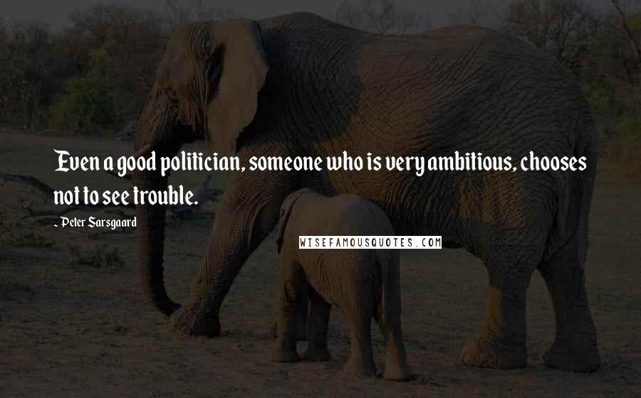 Peter Sarsgaard quotes: Even a good politician, someone who is very ambitious, chooses not to see trouble.