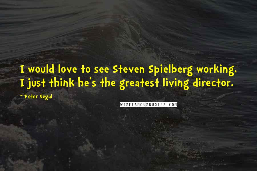 Peter Segal quotes: I would love to see Steven Spielberg working. I just think he's the greatest living director.