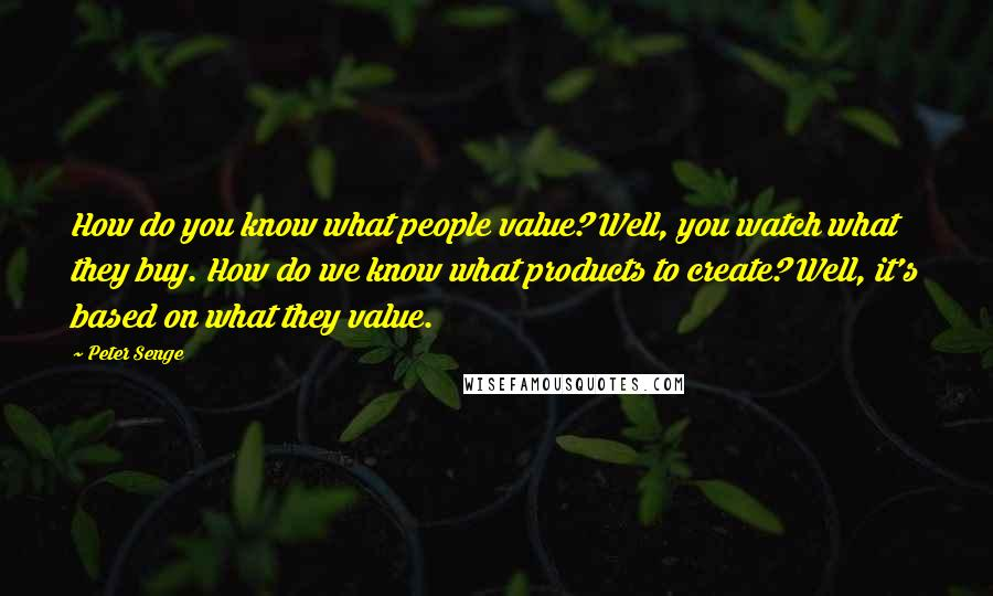 Peter Senge quotes: How do you know what people value? Well, you watch what they buy. How do we know what products to create? Well, it's based on what they value.