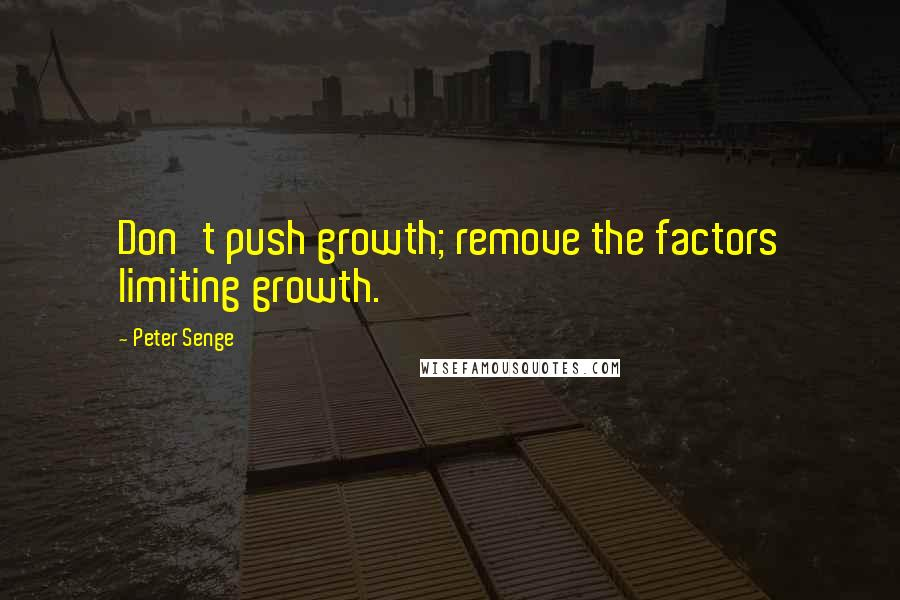 Peter Senge quotes: Don't push growth; remove the factors limiting growth.