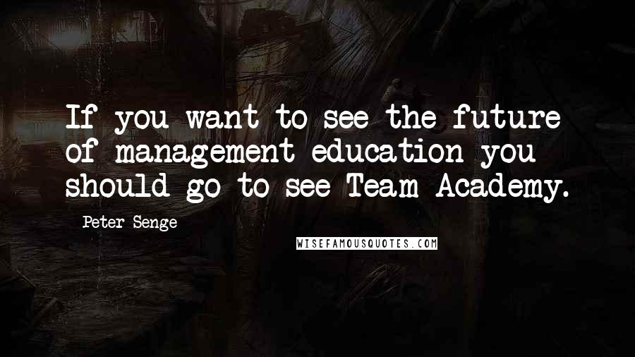 Peter Senge quotes: If you want to see the future of management education you should go to see Team Academy.
