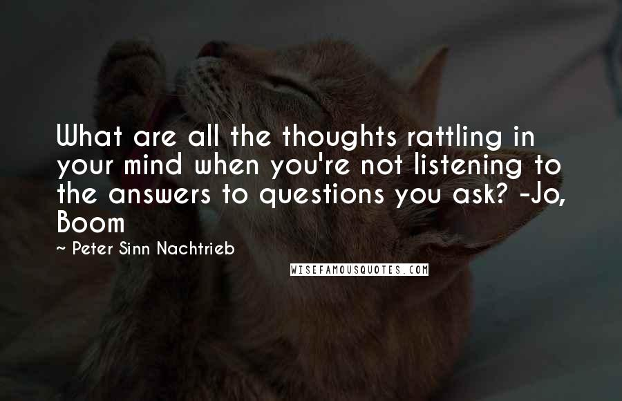 Peter Sinn Nachtrieb quotes: What are all the thoughts rattling in your mind when you're not listening to the answers to questions you ask? -Jo, Boom