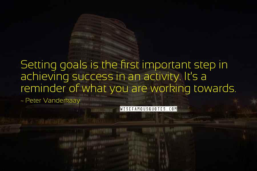 Peter Vanderkaay quotes: Setting goals is the first important step in achieving success in an activity. It's a reminder of what you are working towards.