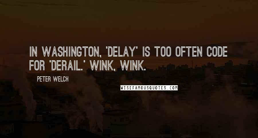 Peter Welch quotes: In Washington, 'delay' is too often code for 'derail.' Wink, wink.