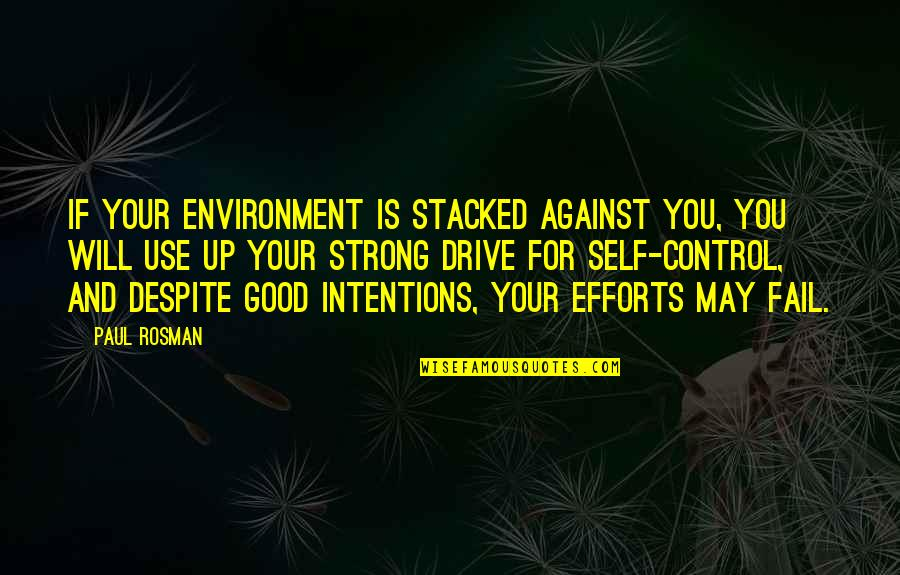 Pham Quotes By Paul Rosman: If your environment is stacked against you, you