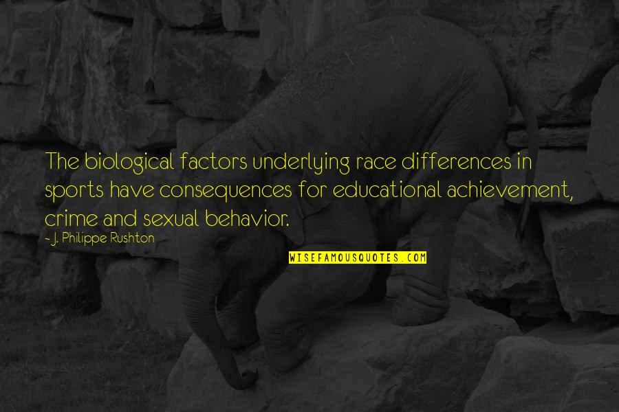 Philippe Rushton Quotes By J. Philippe Rushton: The biological factors underlying race differences in sports