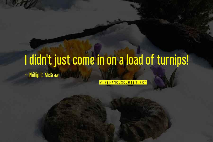 Phillip C Mcgraw Quotes By Phillip C. McGraw: I didn't just come in on a load