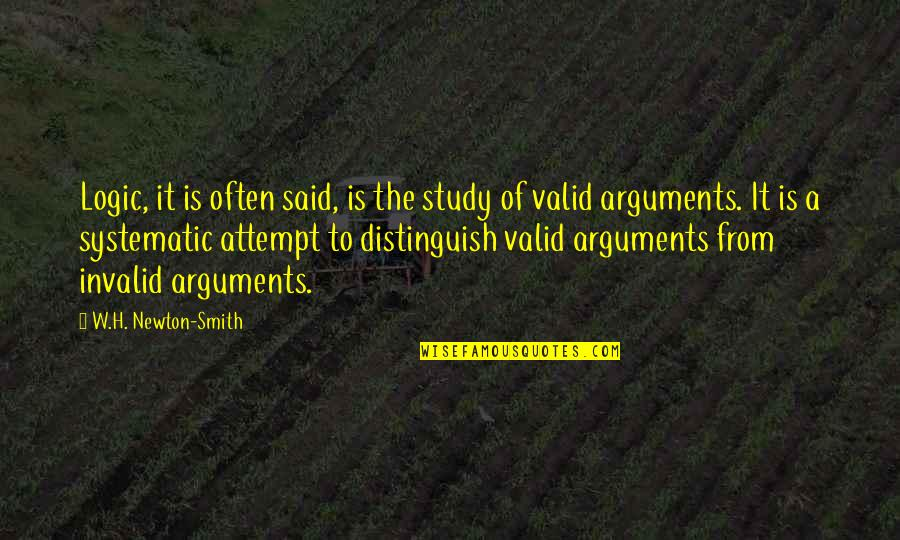 Philosophy And Mathematics Quotes By W.H. Newton-Smith: Logic, it is often said, is the study