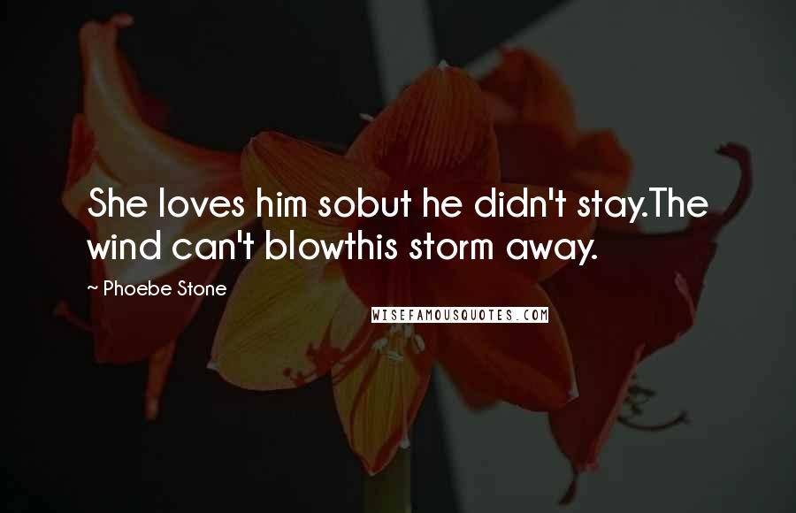 Phoebe Stone quotes: She loves him sobut he didn't stay.The wind can't blowthis storm away.