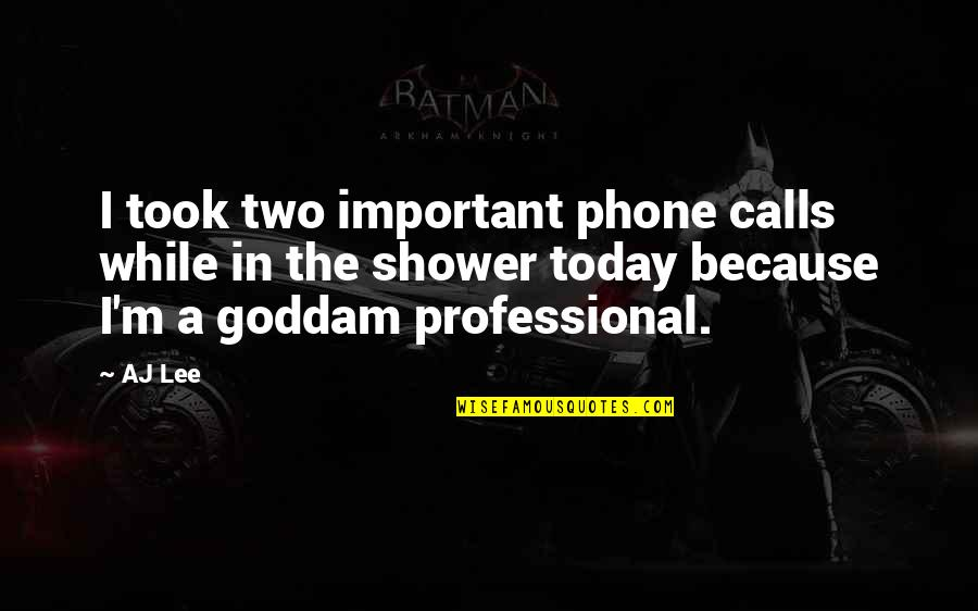 Phones Calls Quotes By AJ Lee: I took two important phone calls while in