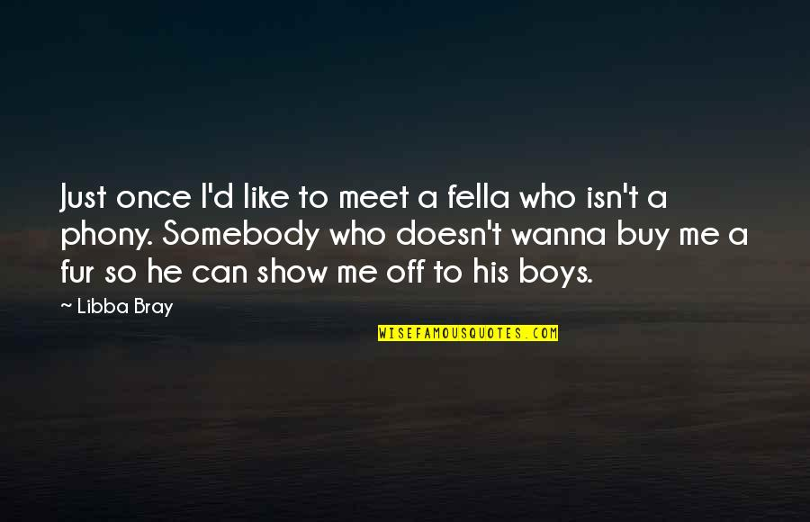 Phony Quotes By Libba Bray: Just once I'd like to meet a fella