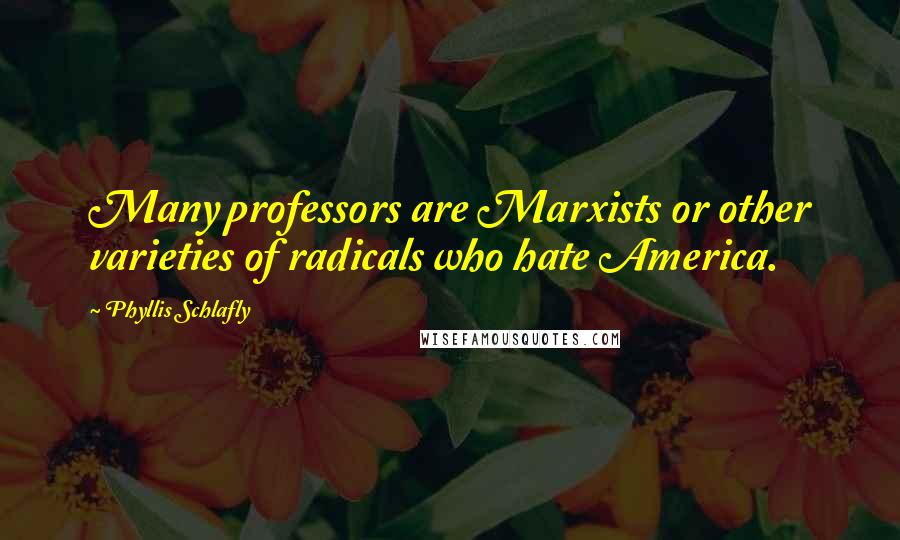 Phyllis Schlafly quotes: Many professors are Marxists or other varieties of radicals who hate America.