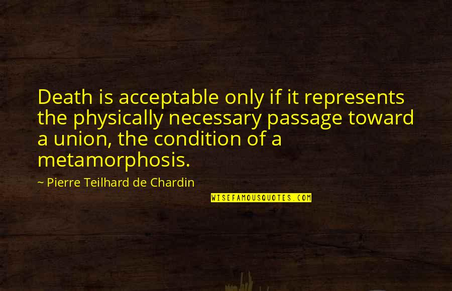 Physically Quotes By Pierre Teilhard De Chardin: Death is acceptable only if it represents the