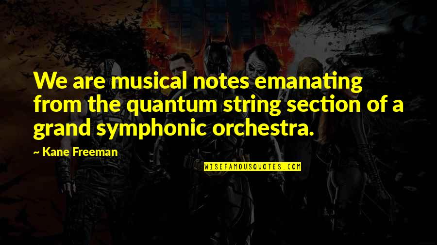 Physics And Life Quotes By Kane Freeman: We are musical notes emanating from the quantum