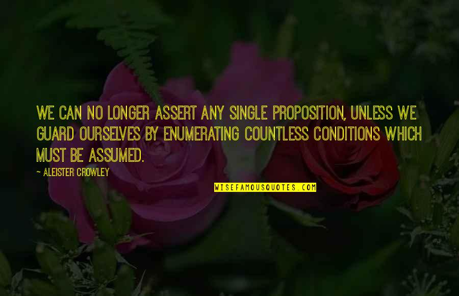 Piano Scale Quotes By Aleister Crowley: We can no longer assert any single proposition,