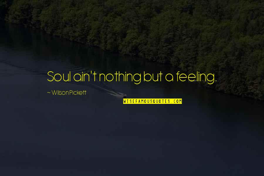 Pickett's Quotes By Wilson Pickett: Soul ain't nothing but a feeling.