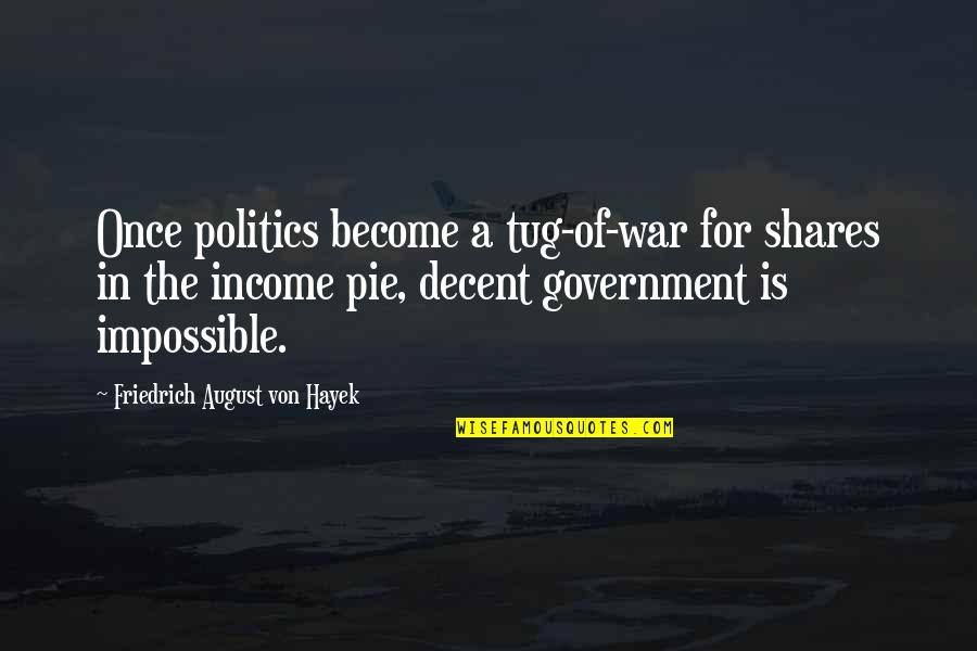 Pie Quotes By Friedrich August Von Hayek: Once politics become a tug-of-war for shares in