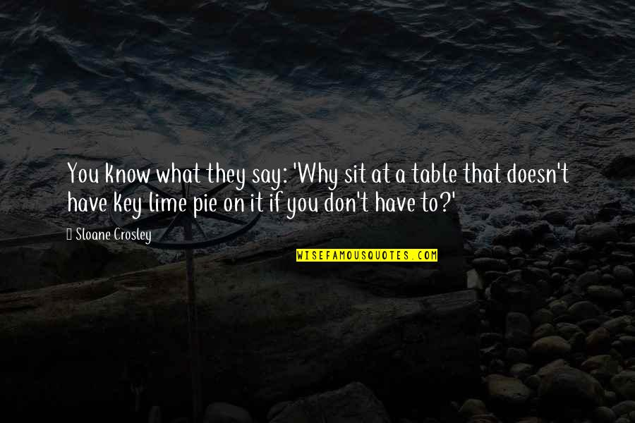 Pie Quotes By Sloane Crosley: You know what they say: 'Why sit at