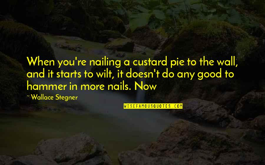Pie Quotes By Wallace Stegner: When you're nailing a custard pie to the