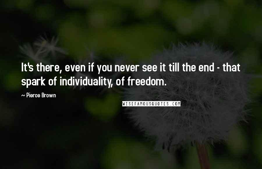 Pierce Brown quotes: It's there, even if you never see it till the end - that spark of individuality, of freedom.