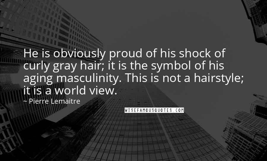 Pierre Lemaitre quotes: He is obviously proud of his shock of curly gray hair; it is the symbol of his aging masculinity. This is not a hairstyle; it is a world view.