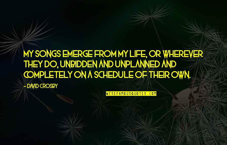 Pierre Simon Laplace Quotes By David Crosby: My songs emerge from my life, or wherever