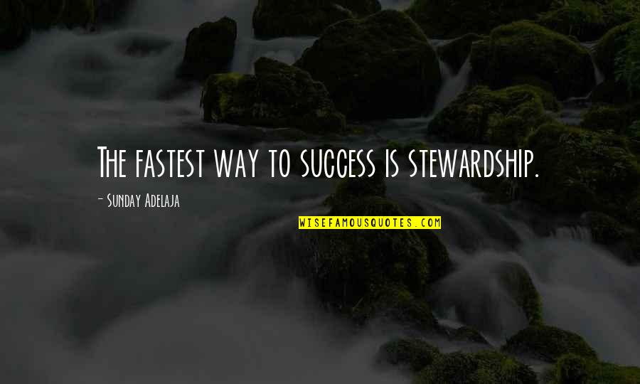 Pieuvrot Quotes By Sunday Adelaja: The fastest way to success is stewardship.