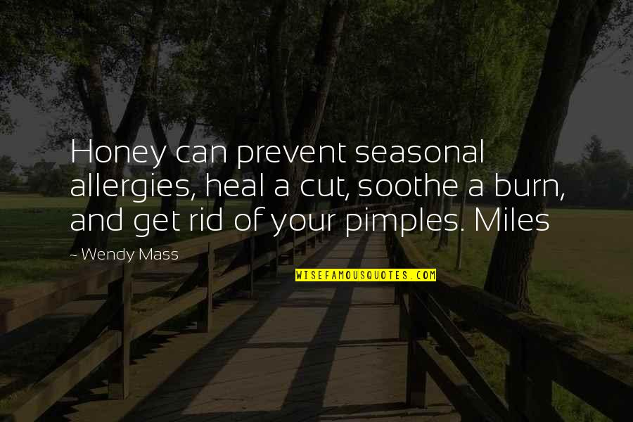 Pimples Quotes By Wendy Mass: Honey can prevent seasonal allergies, heal a cut,