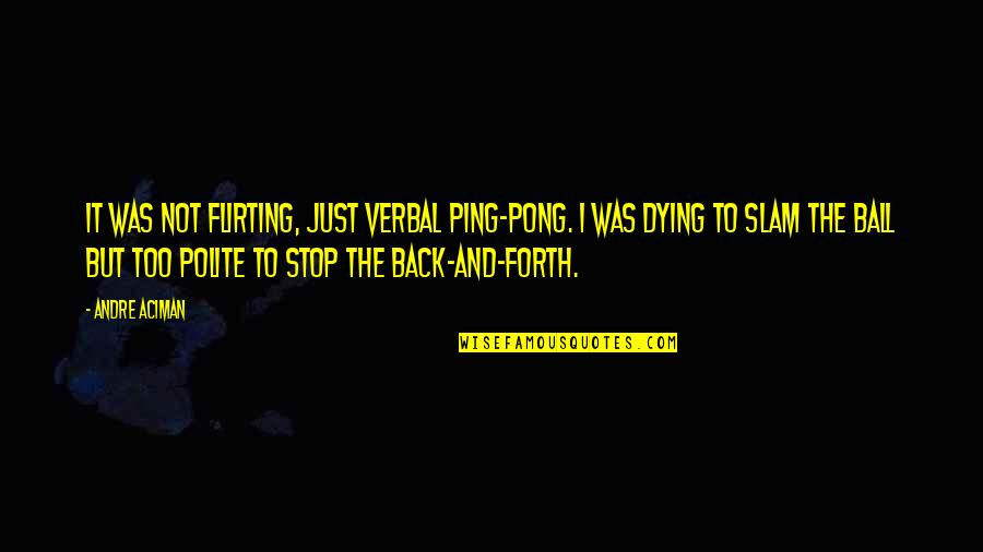 Ping's Quotes By Andre Aciman: It was not flirting, just verbal ping-pong. I