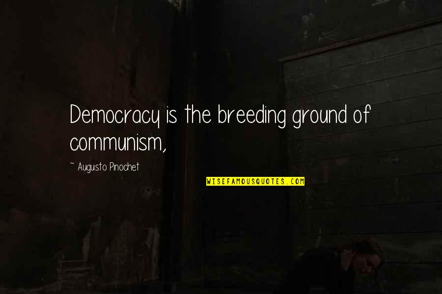 Pinochet Quotes By Augusto Pinochet: Democracy is the breeding ground of communism,