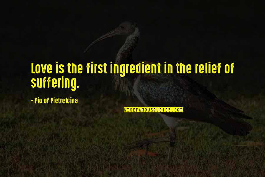 Pio Pietrelcina Quotes By Pio Of Pietrelcina: Love is the first ingredient in the relief