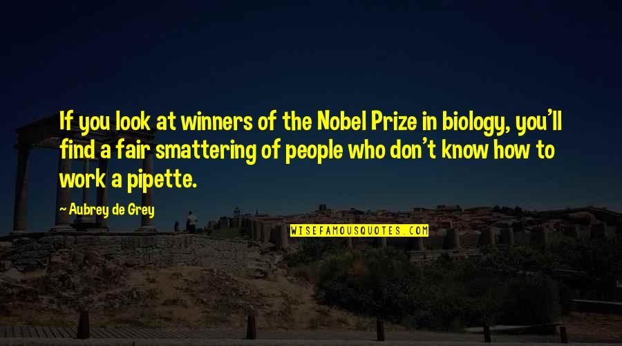 Pipette Quotes By Aubrey De Grey: If you look at winners of the Nobel