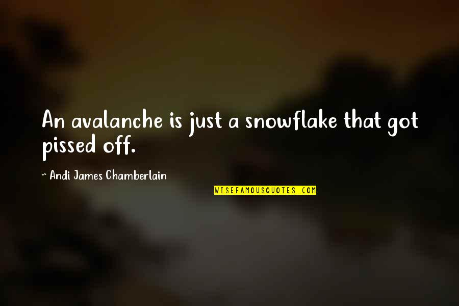 Pissed Quotes And Quotes By Andi James Chamberlain: An avalanche is just a snowflake that got