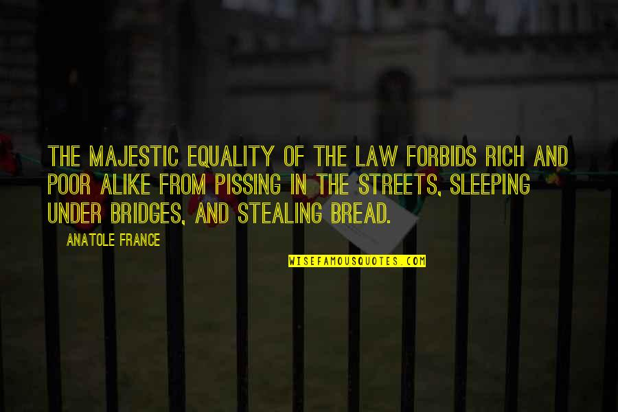 Pissing Quotes By Anatole France: The majestic equality of the law forbids rich