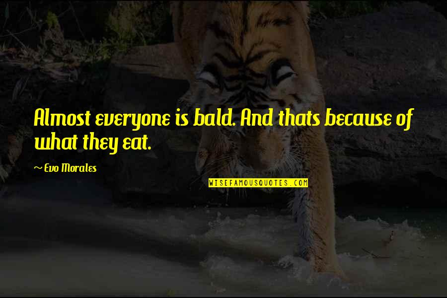 Pistol Shooting Quotes By Evo Morales: Almost everyone is bald. And thats because of